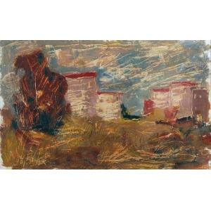 Wojciech Otton FLECK (1903-1972), Pejzaż z zabudowaniami