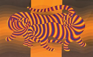 Victor Vasarely (1906 -1997), TWO TIGERS ON GOLD, 1981 r.