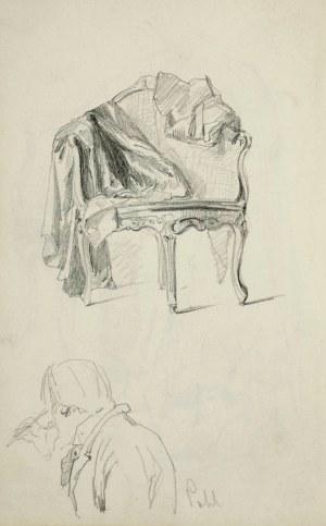 Stanisław Kaczor Batowski (1866-1945), Płaszcz damski leżący na rokokowym fotelu;