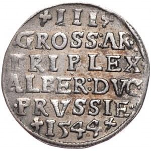 Prusy Książęce, Albrecht Hohenzollern, trojak 1544, Królewiec, wysoki kołnierz