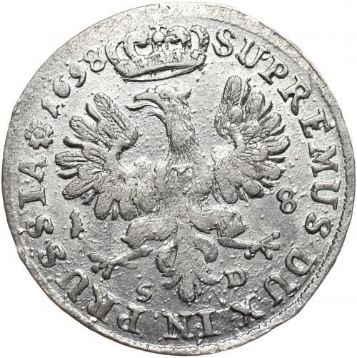Prusy (księstwo), Fryderyk III, ort 1698 SD, mniejsze popiersie