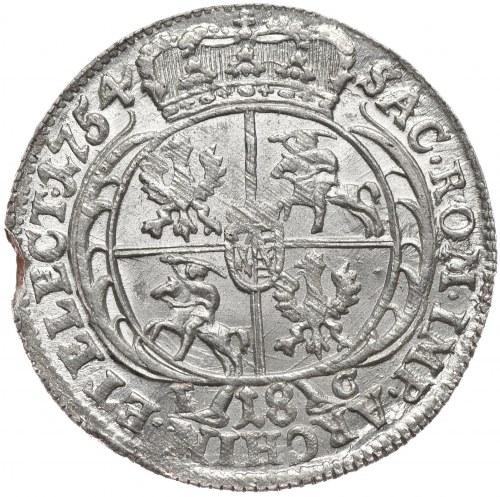 August III, Ort koronny 1754, Lipsk, szerokie popiersie