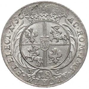 August III, ort koronny 1756, Lipsk, szerokie popiersie, otwarta 6 w dacie