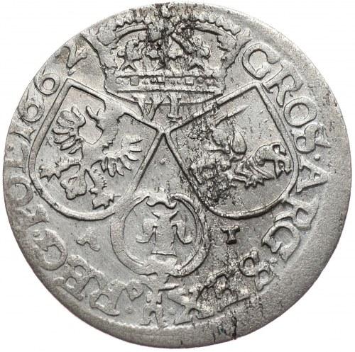 Jan Kazimierz, Szóstak 1662 AT, Kraków, bez obwódki na rewersie