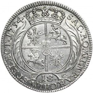 August III, ort koronny 1754, Lipsk, popiersie jak na tymfach, bardzo rzadka odmiana.