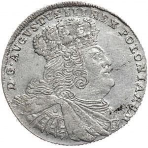 August III, Ort koronny 1755, Lipsk, szerokie popiersie, mniejsze litery w napisach otokowych