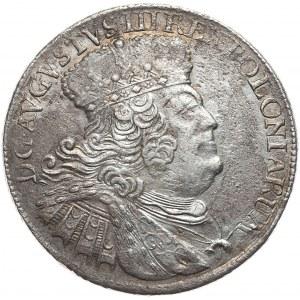 August III, Ort koronny 1755, Lipsk, szerokie popiersie, pod każdą literą M na rewersie dodatkowa kropka
