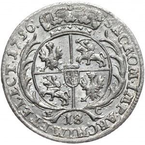 August III, Ort koronny 1756, Lipsk, szerokie popiersie,