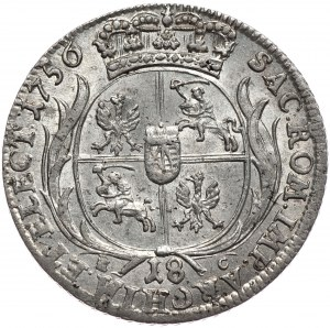 August III, ort koronny 1756, Lipsk, mała głowa, bez kropki po dacie