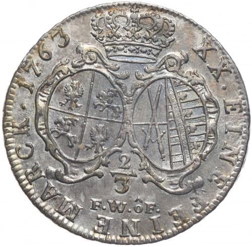 August III, 2/3 talara 1763 FWoF, Drezno