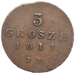 Księstwo Warszawskie, Fryderyk August I, 3 grosze 1811 IB