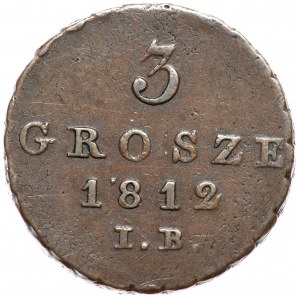 Księstwo Warszawskie, Fryderyk August I, 3 grosze 1812 IB
