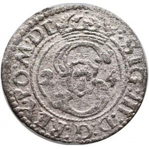 Zygmunt III Waza, Szeląg 1624 Wilno, na rewersie błąd SOLIDSS poprawiony na SOLIDVS