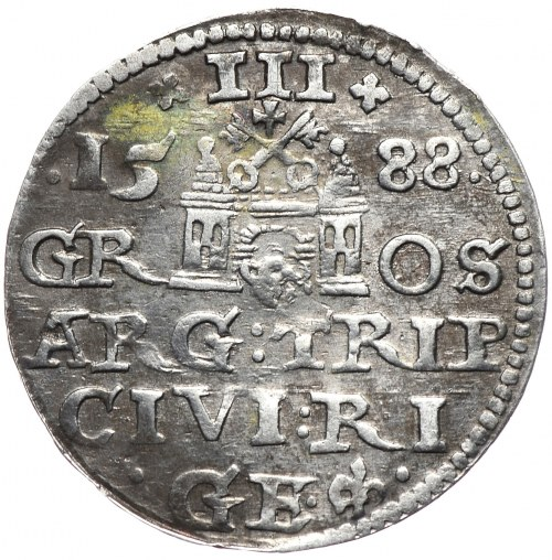 Zygmunt III Waza, trojak 1588 Ryga, nieopisany wariant interpunkcji