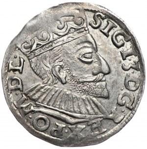 Zygmunt III Waza, trojak 1592, Poznań, szeroka twarz króla, data z lewej