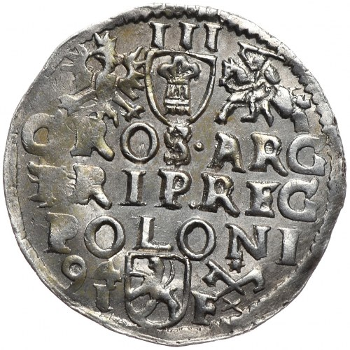 Zygmunt III Waza, trojak 1594, Poznań, wydłużona twarz króla, MDLI