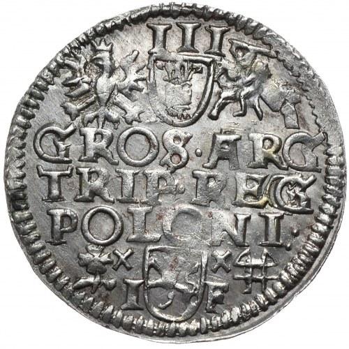Zygmunt III Waza, trojak 1595, Wschowa, nieopisany wariant interpunkcji, podwójnie nabite G w REG(G)