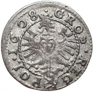 Zygmunt III Waza, grosz 1608, Kraków, nieopisany wariant interpunkcyjny