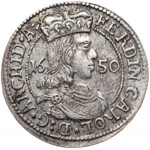 Austria, Ferdynand Karol, 3 krajcary 1650, Hall