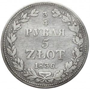 Zabór rosyjski, Mikołaj I, 3/4 rubla 5 złotych 1836 MW, Warszawa