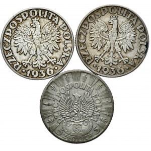 Zestaw 5 Piłsudski 1934 strzelecki, 2x 5 zł 1936 żaglowiec - razem 3 szt.