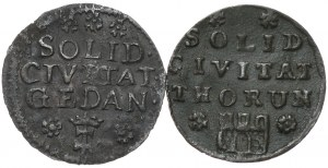 August III, Szeląg 1754 Gdańsk, 1761 Toruń - razem 2 szt.