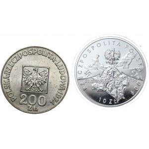 200 zł 1974 XXX lat PRL, 10 zł 2009 Wieluń