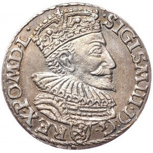 Zygmunt III Waza, trojak 1594, Malbork, podwójnie nabita litera R w REG.