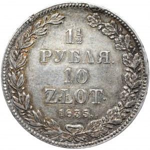 Zabór rosyjski, Mikołaj I, 1 1/2 rubla, 10 złotych 1835/3 НГ, Petersburg, data przebita z rocznika 1833