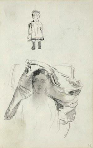 Stanisław Kaczor Batowski (1866-1946), Szkice popiersia młodej kobiety oraz małego dziecka