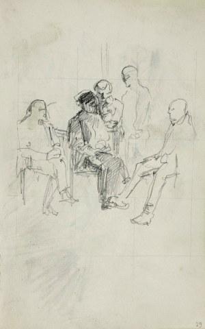Stanisław Kaczor Batowski (1866-1945), Grupa mężczyzn we wnętrzu
