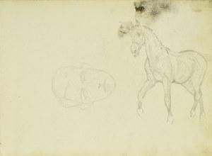 Karol Kossak (1896-1975), Studium konia idącego stępa, zarys głowy mężczyzny, 1922