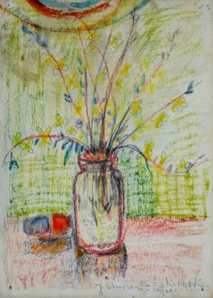 Janina Muszanka - Łakomska (1920-1982), Gałązki z żółtymi kwiatkami w szklanym słoju