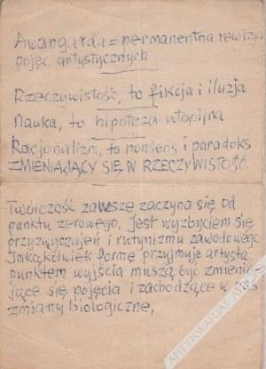 Stażewski Henryk (1894-1988), [rękopis, lata 1970-80 te] Awangarda=permanentna rewizja pojęć artystycznych