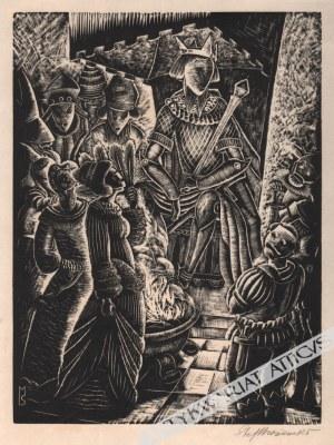 Stefan Mrożewski (1894-1975), [grafika, 1929] Król na tronie (z cyklu