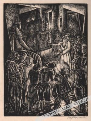 Stefan Mrożewski (1894-1975), [grafika, 1929] Scena ze starcem i dworzanami (z cyklu