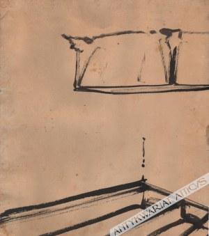Stanisław Noakowski (1867-1928), [rysunek, lata 1920-te] [wnętrze zamkowe z kominkiem]