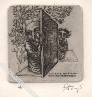 Stasys Eidrigevičius (Ur. 1949), [grafika, 1973] Exlibris Krystyna + Edmund = Puzdrowscy