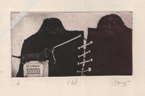 Stasys Eidrigevičius (Ur. 1949), [grafika, ok. 1980] Exlibris Barbara i Janusz Szymańscy