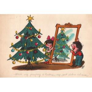 Jerzy Flisak (1930-2008), [rysunek, ok. 1980] [Choinka] Niech się przejrzy w lustrze czy jest dobrze ubrana