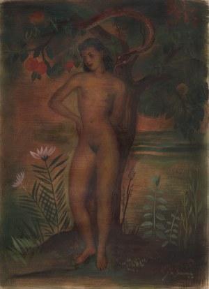 Jan Marcin Szancer (1902-1973), [rysunek, 1940] [Ewa kuszona przez węża]