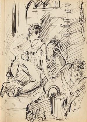 Antoni Uniechowski (1903-1976), [rysunek, ok. 1950-60] [scenka erotyczna]