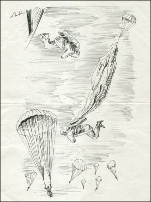 Antoni Uniechowski (1903-1976), [rysunek, ok. 1950-60] Bez tytułu [spadochroniarze]