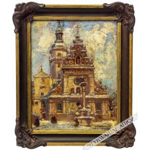 Irena Nowakowska-Acedańska (1909-1983), [obraz, przed 1945] Kościół św. Andrzeja i klasztor Bernardynów we Lwowie