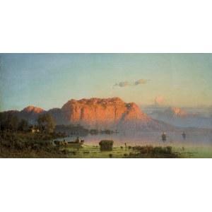 Świeszewski Aleksander, ZACHÓD SŁOŃCA NAD JEZIOREM, 1881