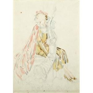 Józef MEHOFFER (1869-1946), Studium alegorii Dobrobytu do witrażu do gmachu Miejskiej Kasy Oszczędności w Krakowie (1932)