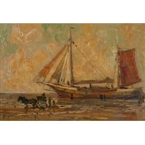 Rudolf Priebe (1889 - 1956 Rudolfstadt), Kuter rybacki na plaży