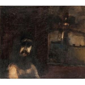 Jerzy Kołacz (1938-2009), Autoportret z wieżą w tle