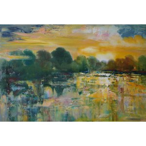 Jagoda Kaczmarczyk-Hudzik, Pejzaż wiślany XIV - zachód słońca, 2020