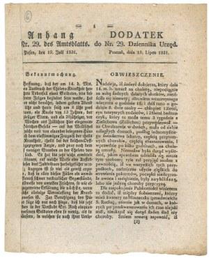 Poznań, 19 VII 1831. O sytuacji epidemicznej w Poznaniu po śmierci w dniu 14 VII 1831 żołnierza, pie ...
